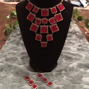 Charming Charlie red necklace with earrings
